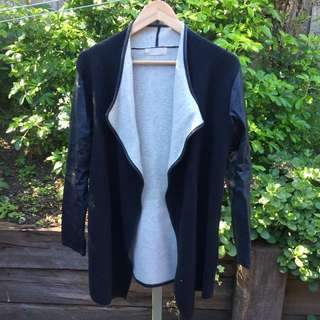 Black faux leather sleeved waterfall jacket