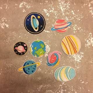 CR Lifestyle 星球布貼 九大行星 地球 土星 銀河 補丁 刺繡布貼 有背膠 DIY 手作 手作材料 可愛布貼