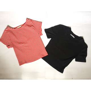2 FOR 105 - Cropped Top (ZARA - BLACK ; FOREVER 21 - RED)