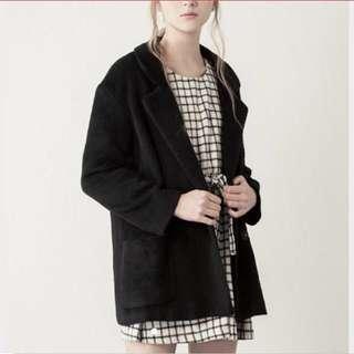 lovfee 優雅暖暖毛呢翻領長袖外套 大衣 黑色