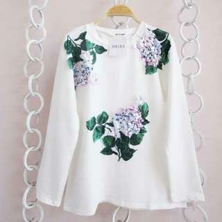 Simple Flowery White Shirt