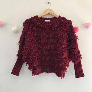 Wine-red knit top