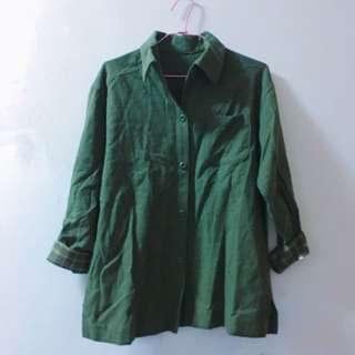 古著 綠色格紋長袖襯衫
