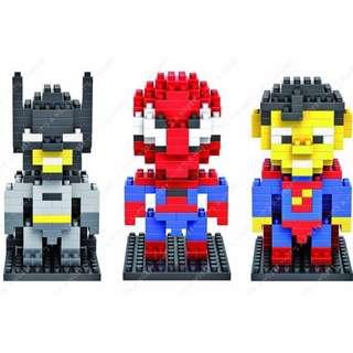 LOZ Lego Medium Nanoblock Medium Spiderman Batman Superman DC Marvel Gift