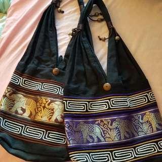 Bulk black elephant shoulder cloth tote bags