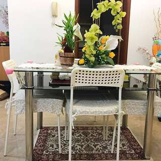 Cute Tempered Dining Table