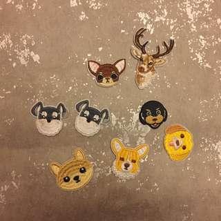 CR Lifestyle 動物布貼 狗狗 鹿 補丁 刺繡布貼 有背膠 DIY 手作 手作材料 可愛布貼