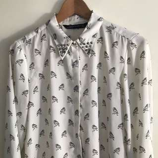 Zara. Owl shirt with studs