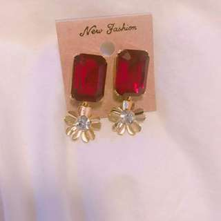 Korea red flower earring