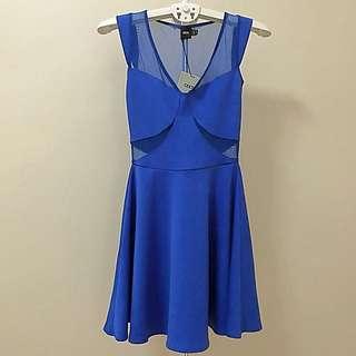 BN ASOS Blue Mesh Skater Dress
