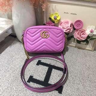 Gucci Marmont mini紫色波浪紋雙G單肩斜挎包