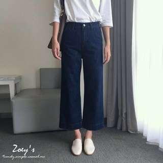 全新 Zoey's 正韓挺版深藍牛仔寬褲 M號