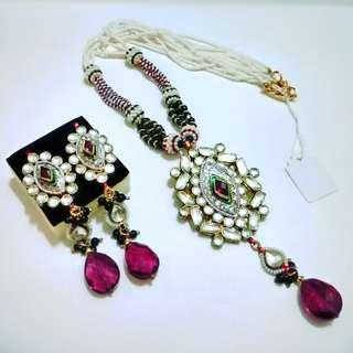 22K Taara Jewelry Pearl Kundan Necklace & Earrings