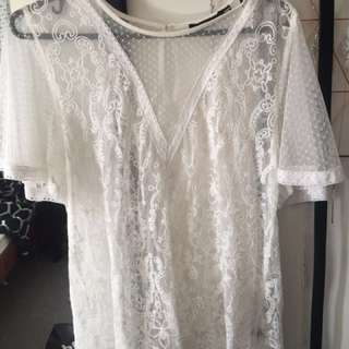 """Sportsgirl"" lacy white top size 10"