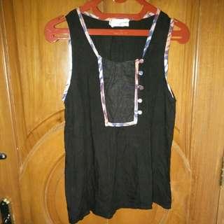 Gaudi Ethnic Sleeveless Shirt (Black)