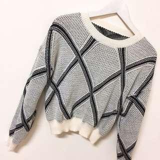短版菱格針織毛衣上衣