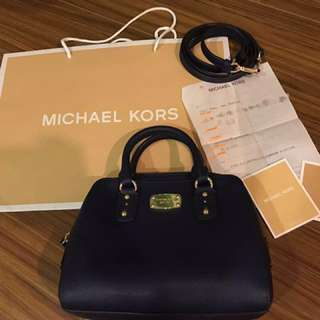 Michael Kors Saffiano Leather Mini Satchel in Navy
