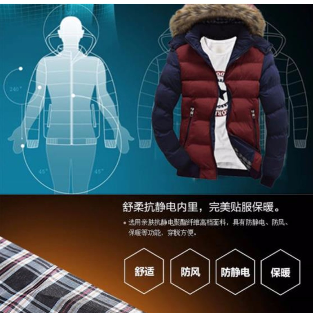 15e5face7 Winter warm padded cotton youth down jacket, Men's Fashion, Clothes ...