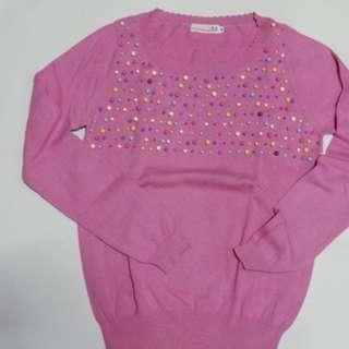 Pink Korean Beaded Sweater