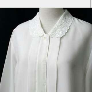Re:reburn日本製森林系復古刺繡花朵翻領白色寬鬆古著襯衫