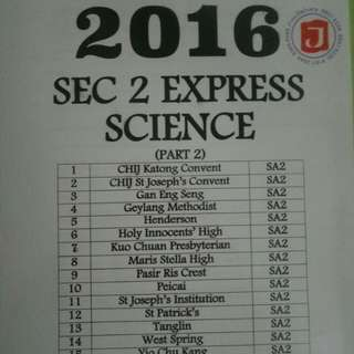 Sec 2 Express SA2 Science papers