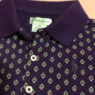 BN Ralph Lauren Purple Girl Printed Long Sleeves Polo Top