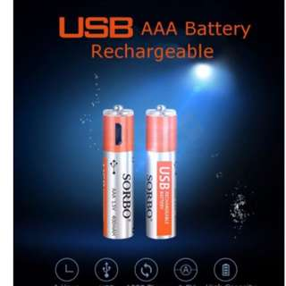USB Rechargeable 4 Pcs Set SORBO AAA Battery With Charging Cable