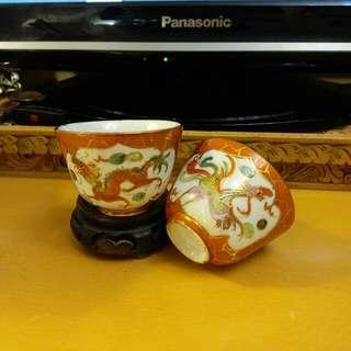 珊瑚紅~描金龍鳳紋茶杯一對