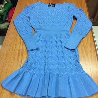 日本購入 魚尾合身洋裝 針織小v領