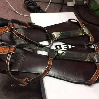 ASH女裝平底鞋蛇皮橙色37Size