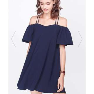 Fayth Rosewood Off Shoulder Dress in Navy Blue