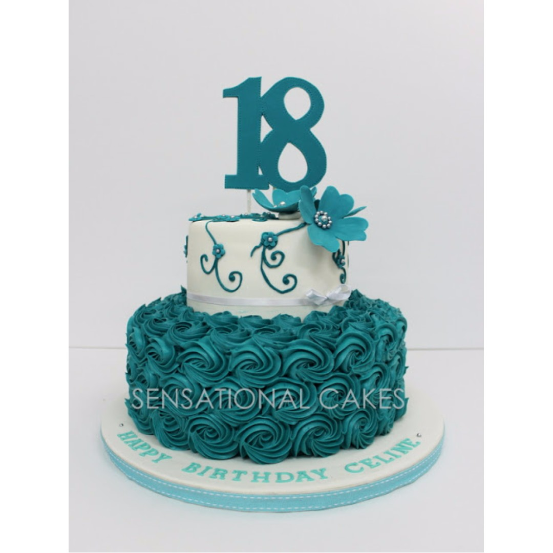 2 TIER 18TH BIRTHDAY TURQUOISE FLORAL CAKE SINGAPORE Nice 21st