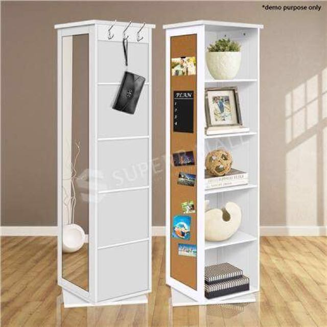 5 Cube Rotating Swivel Storage Cabinet Shelving Shelf Mirror Bookcase Home Furniture On Carou