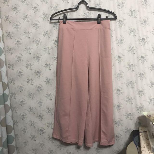 淺粉紅車線寬褲