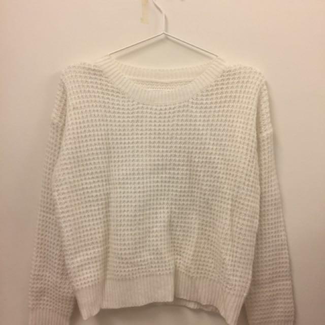 (郵寄免運)白色針織毛衣上衣