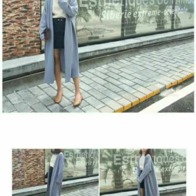 正韓藍色長版針織外套