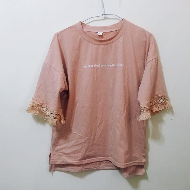 豆沙粉色鬚鬚上衣