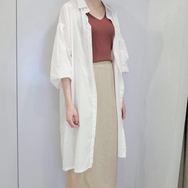 全新轉賣白色長版襯衫可當外套搭配