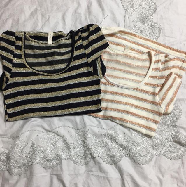 條紋上衣二件組