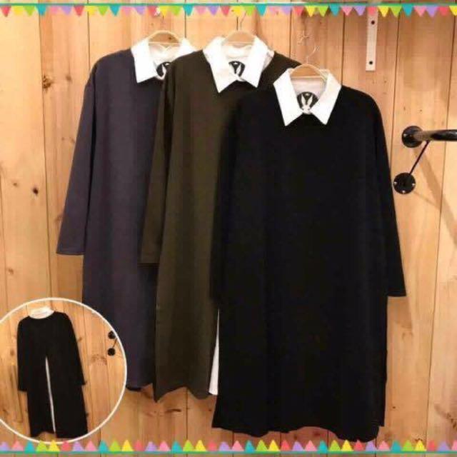 黑色長版上衣 後開叉 兩件式