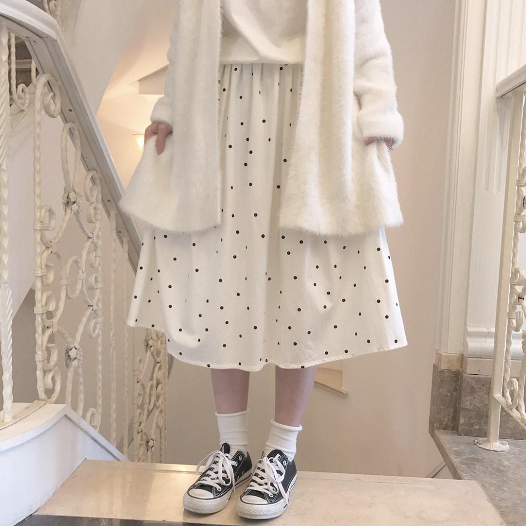 日系白色點點半身裙 古著 古着