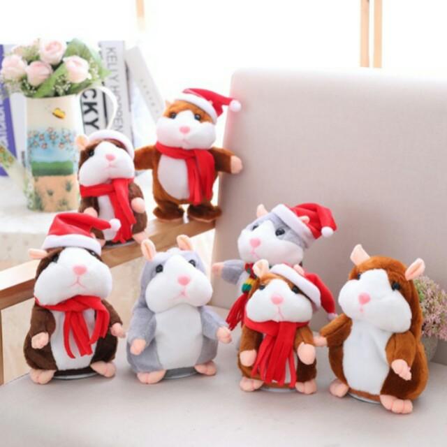 ¥小柴寶貝¥ 現貨【會說話的倉鼠】 聖誕款點頭倉鼠 回聲鼠 應聲娃娃 錄音 模仿老鼠  迴聲小倉鼠 回聲玩偶 兒童節禮物
