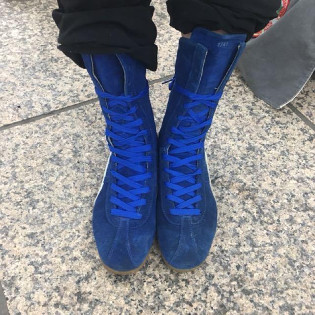 復古 古著 寶藍色 puma 麂皮 靴 高筒 鞋