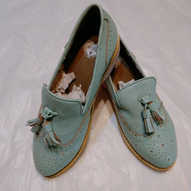 牛津鞋 - 真牛皮/ Tiffany綠