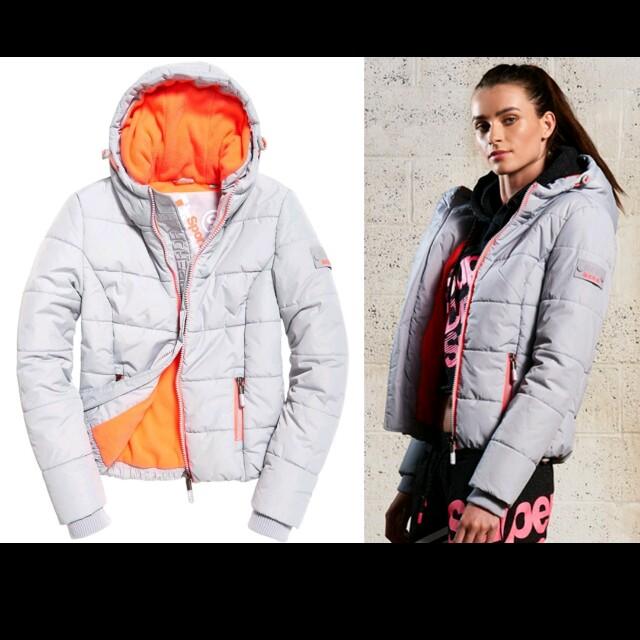 極度乾燥 Superdry Sports Puffer 厚款 鋪棉 夾克 短版 淺灰/珊瑚粉