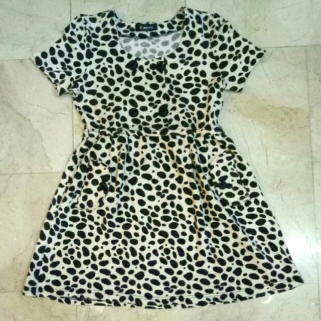 Animal Print / Cheetah / Jaguar / Dalmatian / Polka dots print knee length cocktail short cotton dress (brown & beige)