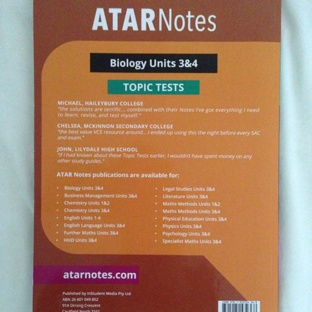 ATAR NOTES VCE UNIT 3/4 BIOLOGY PRACTISE TESTS, Textbooks on