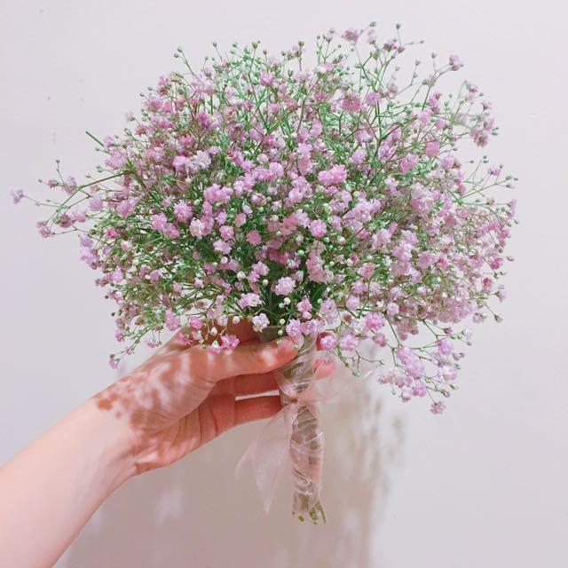 Baby breath hand bouquet - fresh flower gift, Design & Craft, Others ...
