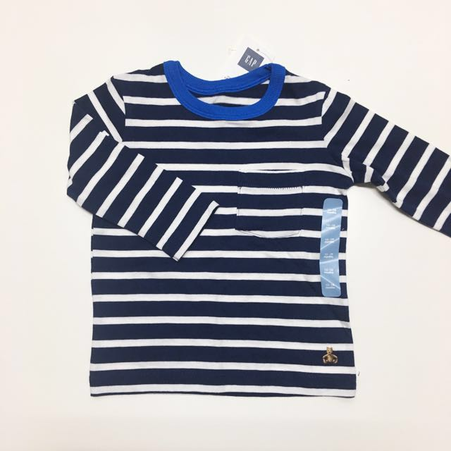 baby GAP 嬰幼兒童裝 純棉長袖上衣T恤 深藍色條紋