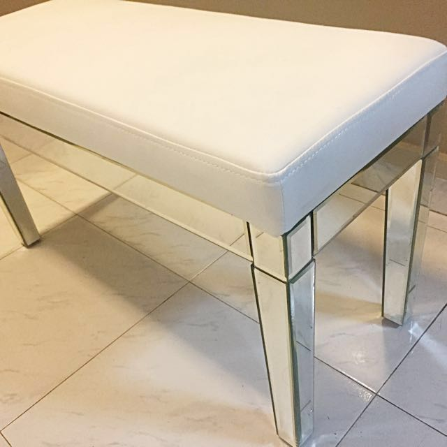 Admirable Bench Stool 32Cm X 80Cm Top Material White Pvc Leather Machost Co Dining Chair Design Ideas Machostcouk
